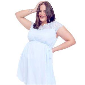 Blue Chiffon Junarose Dress with Lace Sz 18